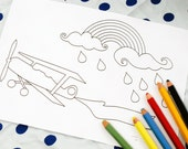 Printable colouring page - Vintage airplane, rainbow, rainclouds 1 - downloadable PDF