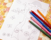 Printable colouring page - Tree, rainbow, raincloud, birds, owls, ladybugs, butterflies - Spring 4 - downloadable PDF