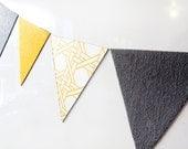 mini bunting fridge magnets - 7 yellow and grey fabric & vintage wallpaper