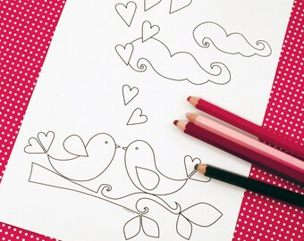 Printable colouring page - lovebirds, hearts, branch 2 - downloadable PDF