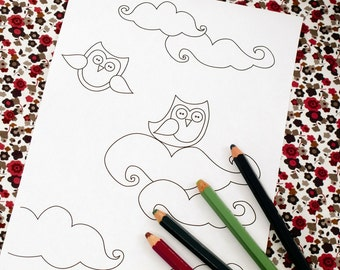 Printable colouring page - Owls and clouds 2 - downloadable PDF