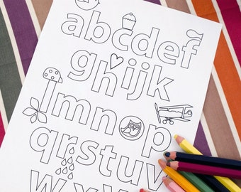 Printable colouring page - illustrated alphabet - downloadable PDF