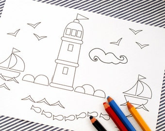 Printable colouring page - Nautical 2 lighthouse, sailboats - downloadable PDF