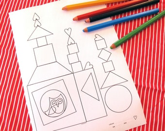 Printable colouring page - building blocks and whimsical owl - downloadable PDF