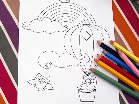 Printable colouring page - hot air balloon, owls and rainbow 1 - downloadable PDF