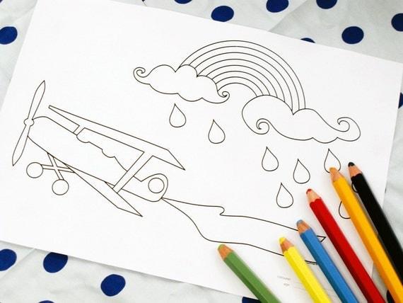 Printable colouring page - Vintage airplane, rainbow, rainclouds 1 - downloadable PDF