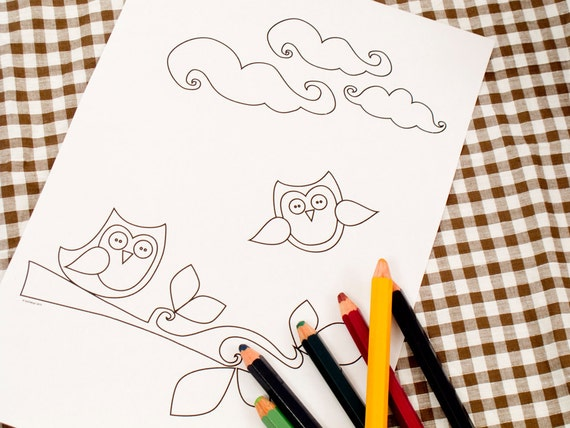 Printable colouring page - Owls and branch 1 - downloadable PDF