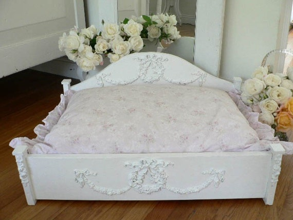 Shabby wooden pet bed handcrafted chic for small dog or cat for Shabby chic dog