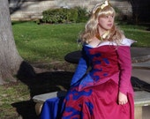 Princess Aurora's Pink and Blue Splashed Birthday Dress from Sleeping Beauty: Custom Adult Costume
