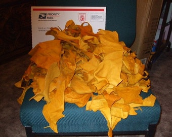 3 lb. Sample Box SOFT ELK Leather Scraps Gold Colored