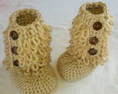 Baby boots, Furry Loop Boots, Crochet Boots-Tan colored . 0-3, 3-6, 6-9 month available for custom order, Crochet boots,