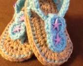 Infant Crochet Sandals, Jeweled Sandals, Summer Shoes, Baby Crochet Sandals