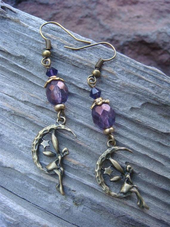 Fairy on the Moon - (Purple czech glass bead accent)