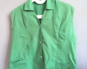 Vintage 40s 50s Green Sleeveless Blouse-RESERVED for bettyblue58