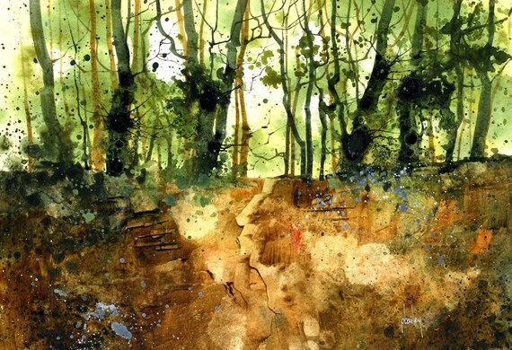 Original watercolour painting - Camouflage copse