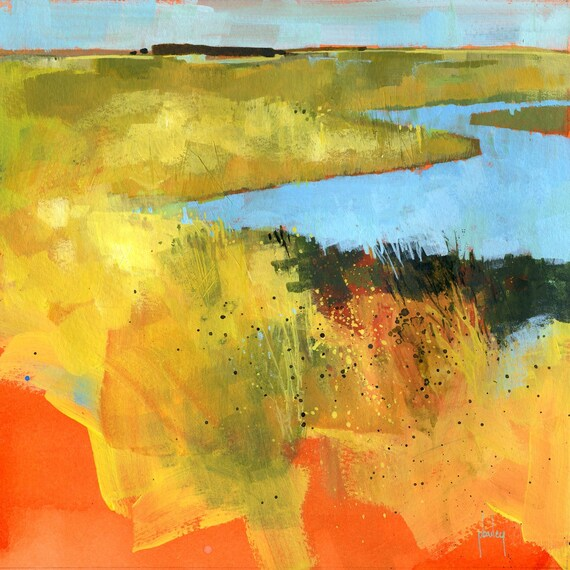 Original acrylic semi-abstract landscape painting - Backwaters