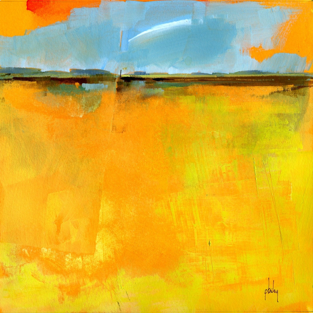 Abstract Landscape Paintings : Semi-abstract landscape original painting Cirrus by PaulBaileyArt