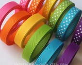 Rainbow Solids&Dots-Me-Colors -- 3/8 inch Grosgrain Ribbon Lot/Collection (24 yards)