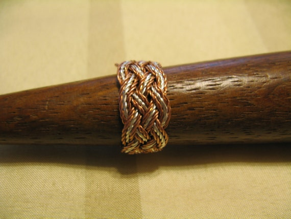 Hand-tied twisted copper and silver wire Turks Head Knot ring