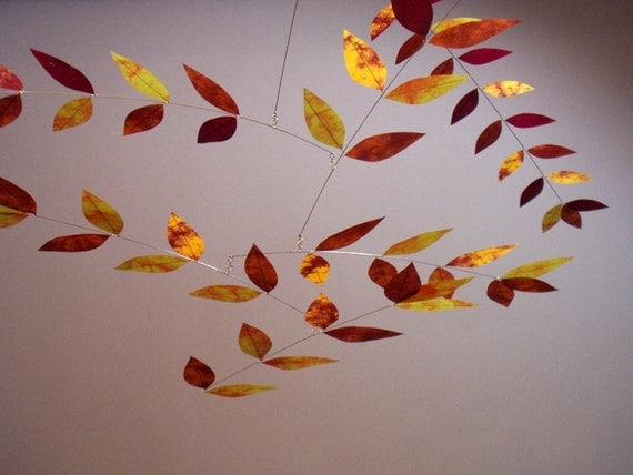 Leaf Mobile Handmade Dappled Leaves in Gold Copper Berry