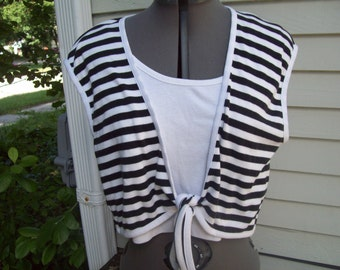 Black And White Nautical Crop Top