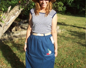 Vacation Sale Shipping Resumes 8/8 Deadstock Nautical Sailboat Skirt With Original Stretch Belt and Tags