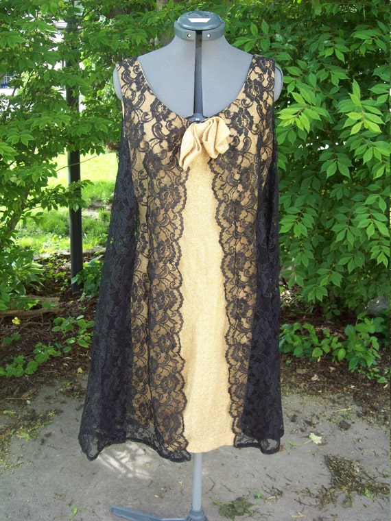 Metallic Sparkle Gold Dress With Sheer Black Lace Swing Panels Mad Men Fashion Party Dress