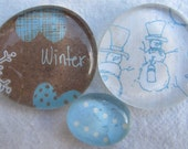 Glass Marble Pebble Magnets Snowman  Winter  Snow  Blue  Brown  White Holiday Christmas Gift  Xmas Fridge Magnets  Set of 3