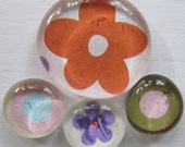 Glass Pebble Magnets - Flowers - Dots-2  Set of 4 Kitchen Magnets - Office Decor - Orange