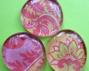 Glass Pebble Magnets - Pink - Green - Gold - Lotus Flower - Paisley  print - Set of 3 - Home Decor - Refrigerator Magnets - Memo Board