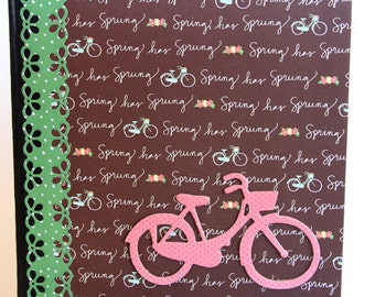 Journal - Altered Composition Notebook - Journaling - Personal Diary - Travel Notebook - Girls Diary - Bicycle - Spring - Brown - Green