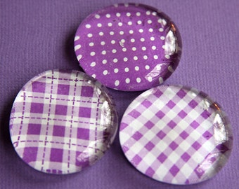 Glass Magnets - Pebble - Marble - Purple - Plaid - Checks - Dots - Set of 3 - Refrigerator Magnets - Memo Board - Gift