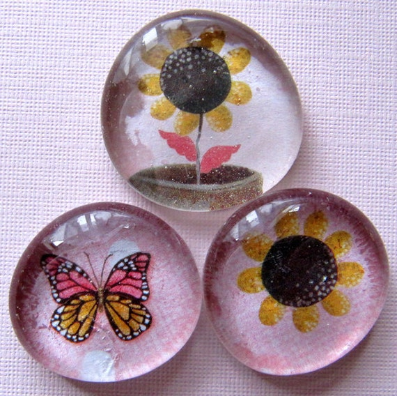 Glass Magnets - Pebble- Marble - Spring -  Flowers - Butterfly - Garden - Gardening - Gift - Set of 3 - Refrigerator Magnets - Home Decor