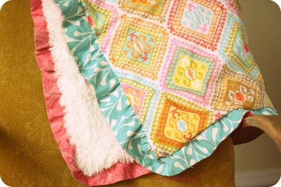 Baby girl blanket minky faux fur and Spa Geo from the Sorbet Collection Michael Miller 30x33 inches