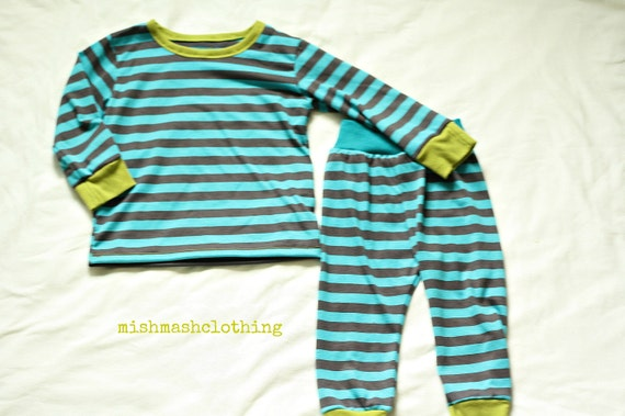 Boy outfit toddler boy sizes newborn to 5T made to order teal grey striped outfit