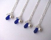 Blue Bridesmaid Wedding Jewelry Navy Cobalt Royal Blue Bridesmaid Necklaces with Pearl & Crystal.