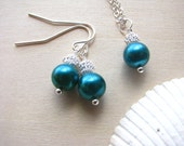 Bridesmaid Jewelry Wedding Necklaces Bridesmaid Earrings Teal Green Pearls Bridesmaid Jewelry Wedding Jewelry