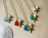 Gold Bridesmaid Jewelry Beach Wedding Jewelry Starfish Necklaces Destination Wedding Sea Glass Green Blue