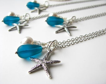 Teal Bridesmaid Starfish Beach Cluster Necklaces for a Beach Wedding. Other colors available.