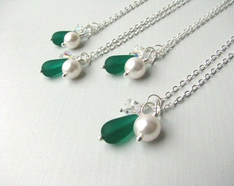 Green Bridesmaid Jewelry Wedding Jewelry Green Bridesmaid Necklaces with Pearl & Crystal, Other colors Available