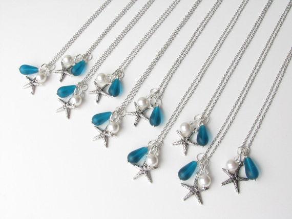 Beach Wedding Bridesmaid Gifts: Wedding Jewelry Teal Bridesmaid Starfish Beach Cluster