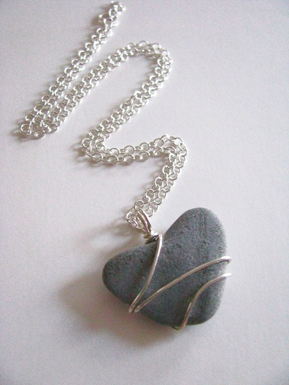 Reserved for J: Sterling Wrapped Beach Stone Heart on SS Chain