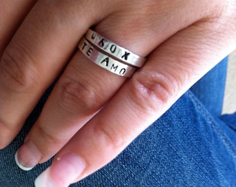 Sterling Silver Personalized Ring Band.  Custom.  Names.  Fun.  Message.  Eco Friendly.  Recycled.