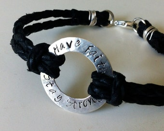 Fathers Day Gift. Sterling Silver Men's Custom Braided Leather  Bracelet.  Eco Friendly.  Stamped.  Personalized.