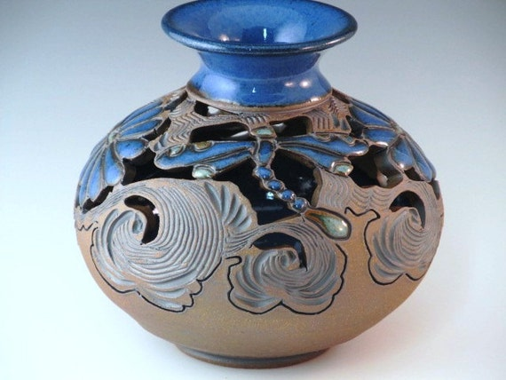 Blue Bud Vase Wtih Dragonflies And Flowers With Swirl Design...FREE SHIPPING