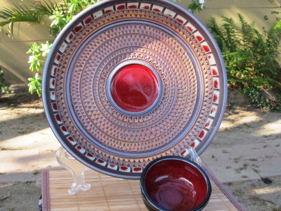 Chip And Dip Plate With Red And Black Glaze With Texturing