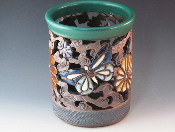 Vase/Luminair/Orchid Pot  With Butterflies, Flowers, And Swirl Design