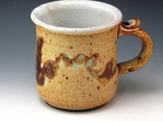 Mug With Brush Work On The  Side With A Touch Of Turquoise
