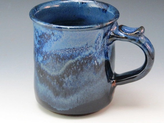 Mug With Blue Glaze With Wave Pattern