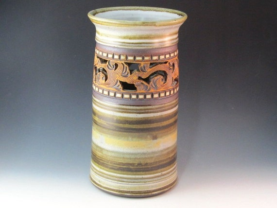 Large Vase With Swirl Design And White Squares Used For Border